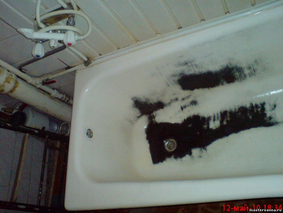 Восстановление эмалевого покрытия ванны с полностью слезшей заводской эмалью